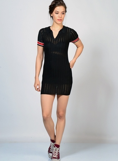 Motel Rocks Kısa Kollu Mini Triko Elbise Siyah